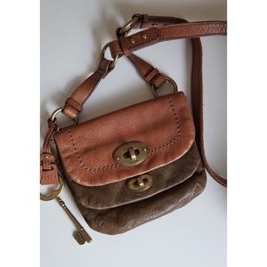 Fossil leather small shoulder/crossbody bag